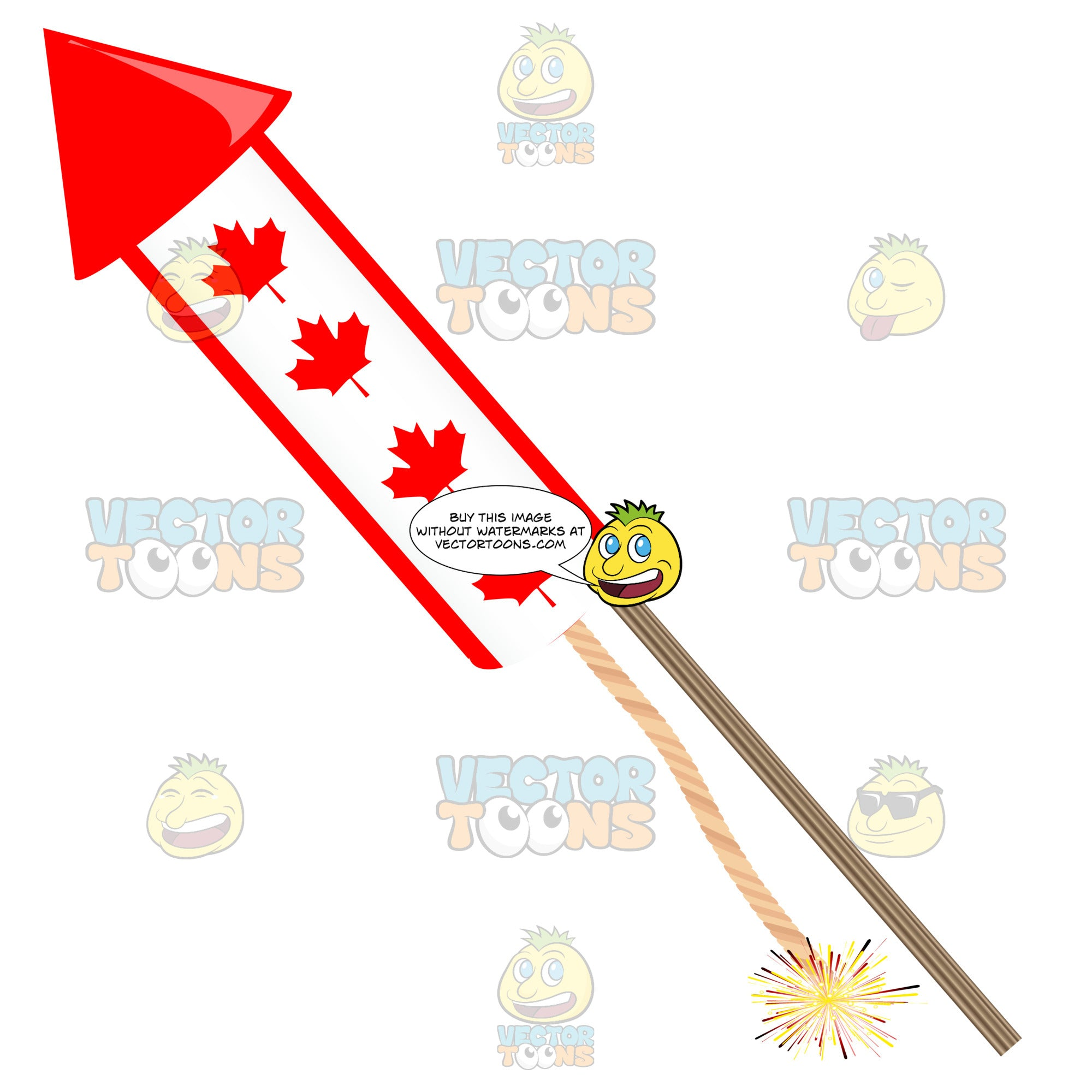 Maple Leaf Covered Canadian Firework Rocket With Lit Fuse Pointing Left