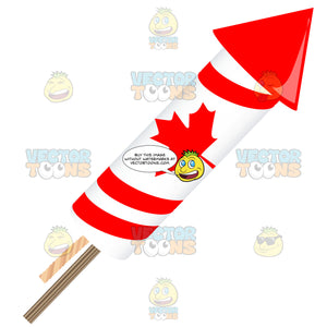 Red And White Maple Leaf Striped Rocket Firework Pointing Right