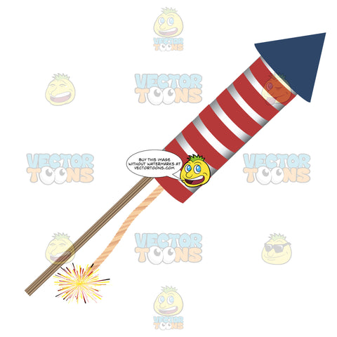 Red And White Striped Firework Rocket With Blue Tip Pointing Right