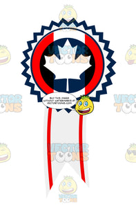 Blue And White Maple Leaf In Center Of Award Ribbon With Red Stripes