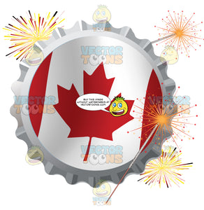 Red And White Canadian Maple Leaf Flag Bottle Cap Surrounded By Fireworks