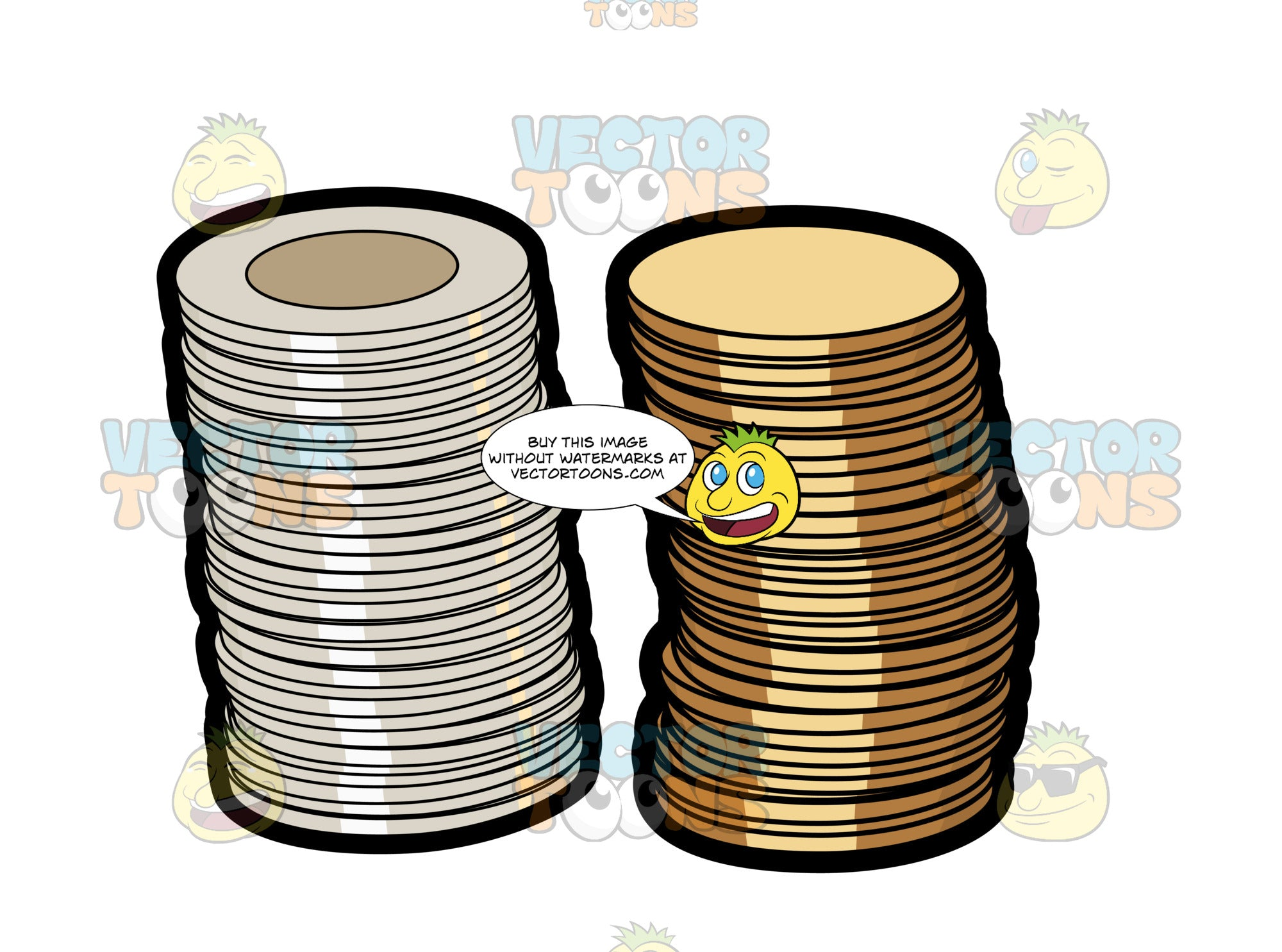 Stacks Of Canadian Dollar And Two Dollar Coins