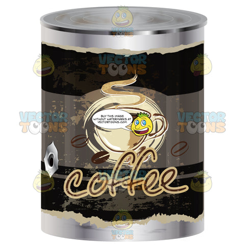 Black Worn Label Coffee Can With Coffee Cup On Label, Hole In Metal Can