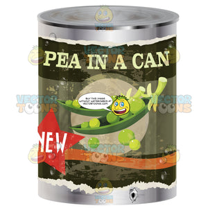 Canned Peas With Green Retro Distressed Label, Image Of Peas In Pod, Words 'Pea In A Can'
