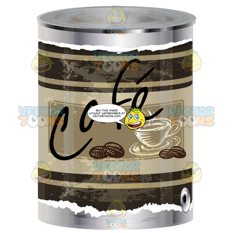 Coffee Bean Canned Container With Brown Label With Cup Of Coffee, Word 'Cafe' And Coffee Beans On Can