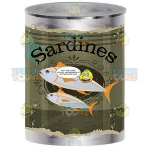Metal Canned Food With Olive Green Worn Label And Image Of Two Small Fish With Word Sardines' On Wrapper
