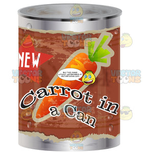 Aluminum Canned Food With Red Worn Label And Image Of Carrots And Word 'New Carrots In A Can' On Wrapper