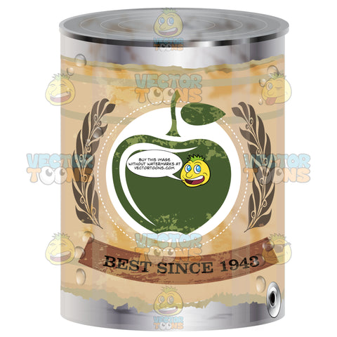 Canned Apple With Distressed Yellow Label With Green Apple And 'Best Since 1943′ On Label