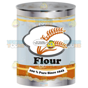 Metal Can With Blue And Orange 'Flour' Label Showing Wheat Stalk