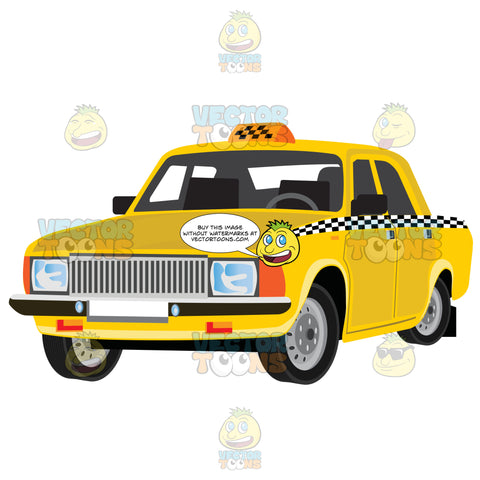 Yellow Taxicab With Checkered Detail On Doors