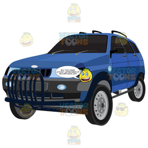Blue Suv Auto With Roof Rack And Tinted Windows