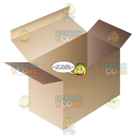 Cardboard Box With A Lid Box Is Open