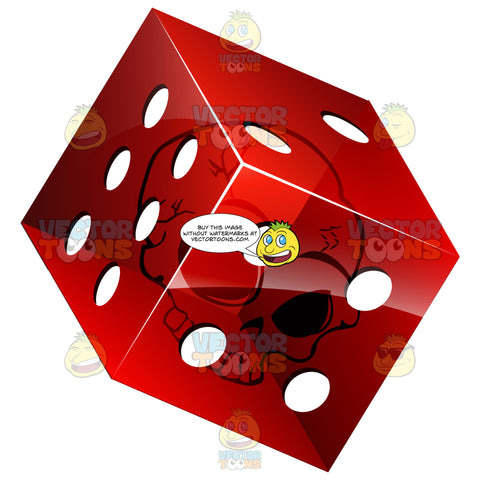 3d Translucent Red Die Dice With Skull Inside