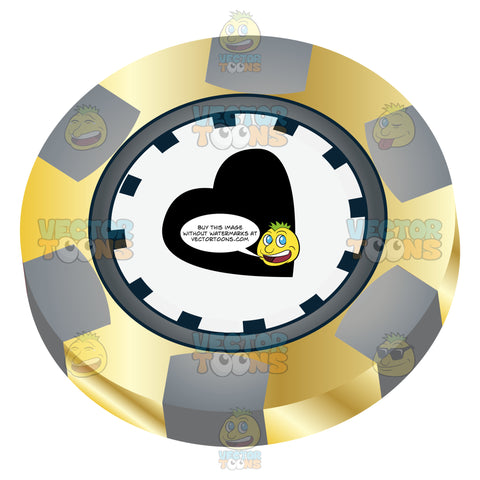 Yellow And Grey Casino Chip With Black Heart In Center