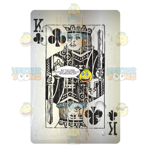 Distressed King Of Clubs Playing Card