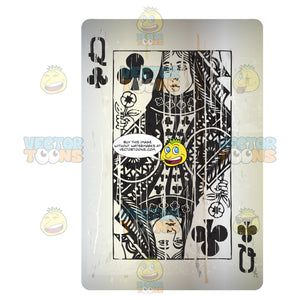 Distressed Queen Of Clubs Playing Card