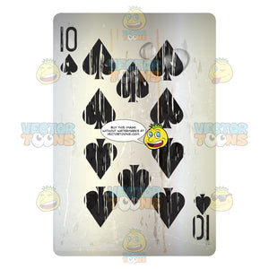 Worn Ten Of Spades Playing Card