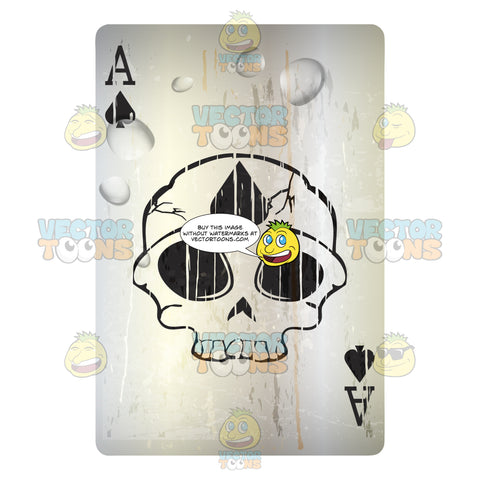 Worn Black Ace Of Spades Playing Card With Skull In Center