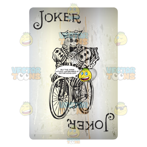 Grungy Black Joker With Skull Face Riding Bicycle Playing Card