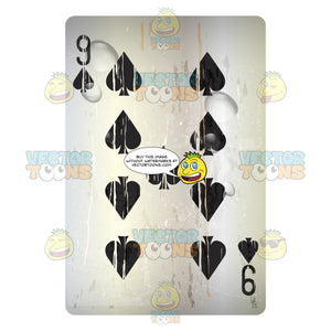 Grungy Black Nine Of Spades Playing Card