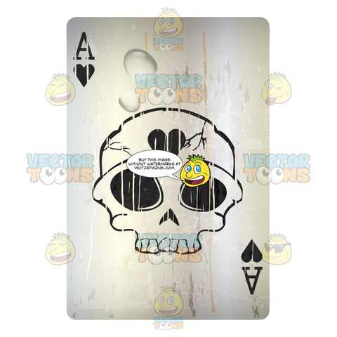Worn Black Ace Of Hearts Playing Card With Skull In Center
