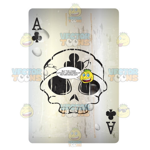 Worn Black Ace Of Clubs Playing Card With Skull In Center