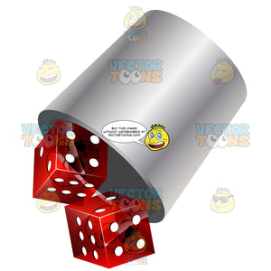 White Cup With Red Dice Tumbling Out Of Them