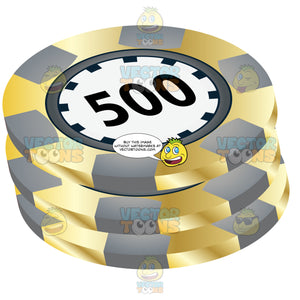 Grey And Yellow Stack Of Casino Chips With 500 In Center