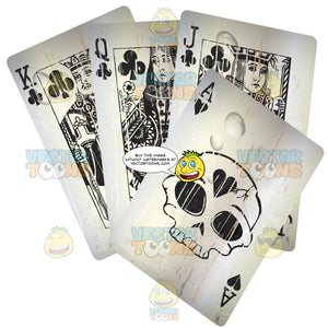 Four Grungy Black Playing Cards, King, Queen, Jack And Ace