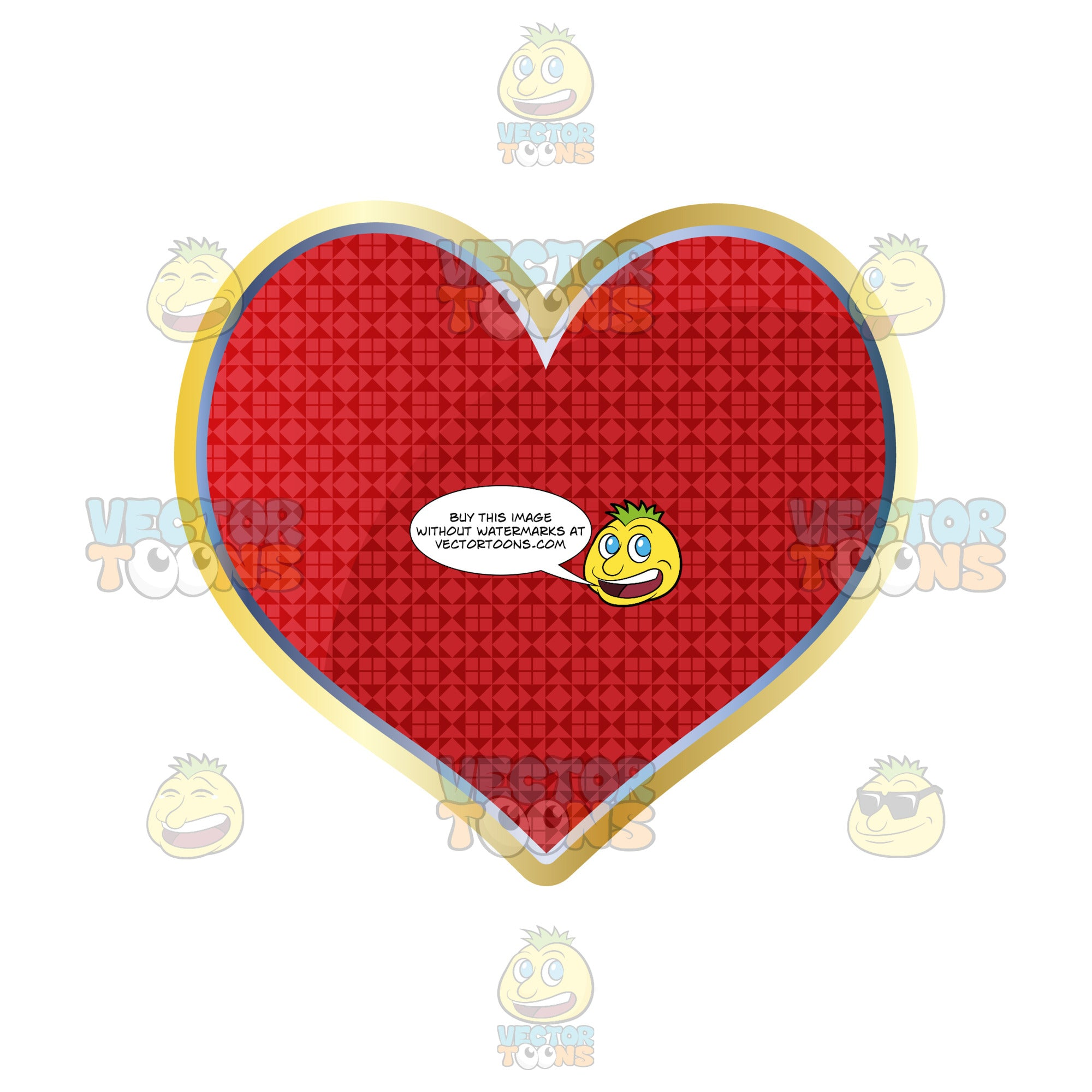 Red Heart Card Suite Symbol Outlined In Gold With Smaller Diamond Pattern Inside