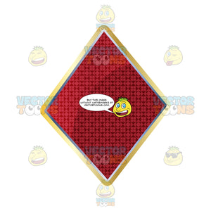 Red Diamond Card Suite Symbol Outlined In Gold With Smaller Diamond Pattern Inside