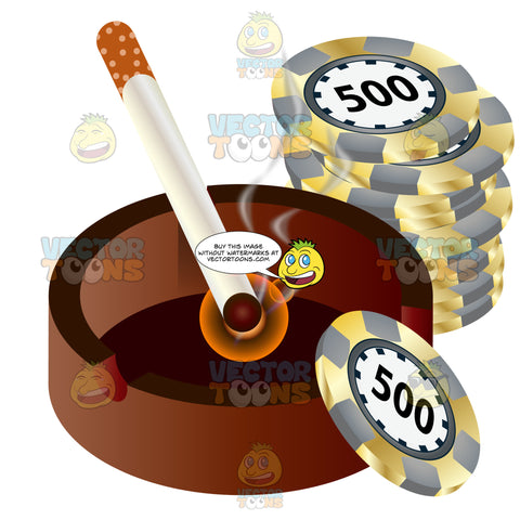 Cigarette Ash Tray With Lit Cigarette Resting In It Next To Stack Of Casino Chips With 500 In Center