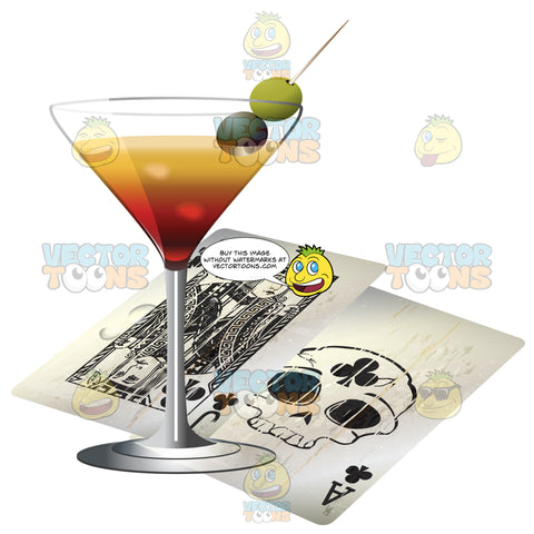Filled Martini Glass With Two Olives Next To Two Grungy Jack And Ace Of Clubs 21 Playing Cards