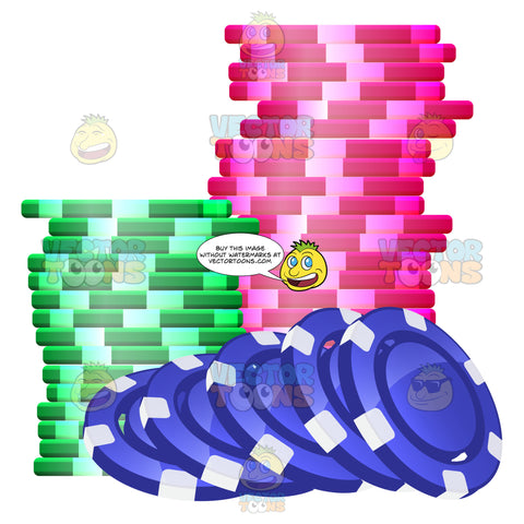 Stacks Of Colored Casino Chips