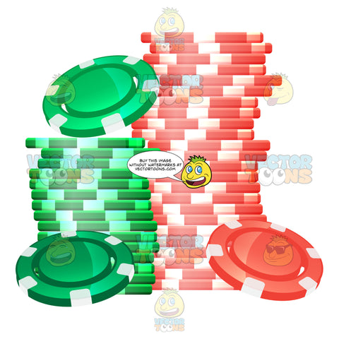 High Stacks Of Green And Red Gambling Tokens