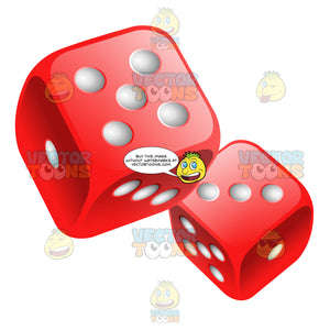 Two Glossy Rounded Red Dice