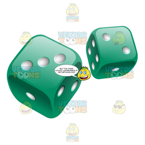 Two Glossy Rounded Green Dice