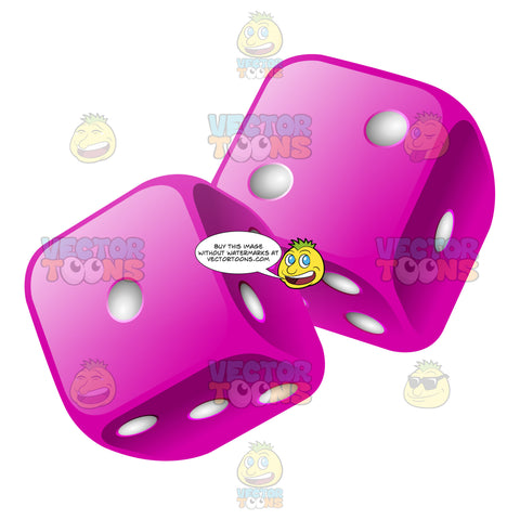 Two Glossy Violet Rounded Dice