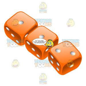 Three Glossy Orange Rounded Dice