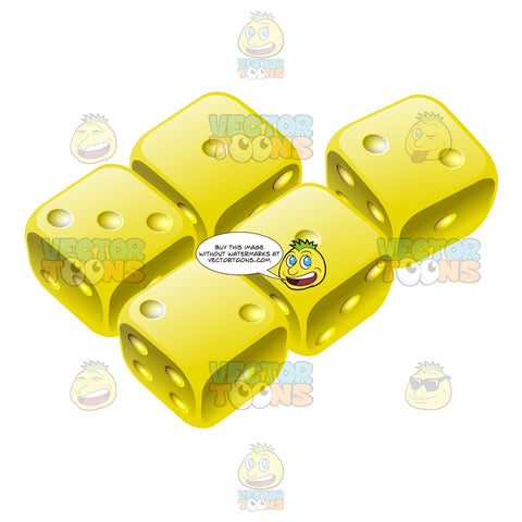 Five Glossy Yellow Dice