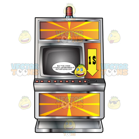 Fancy Orange With Yellow Rays One Dollar Slot Machine