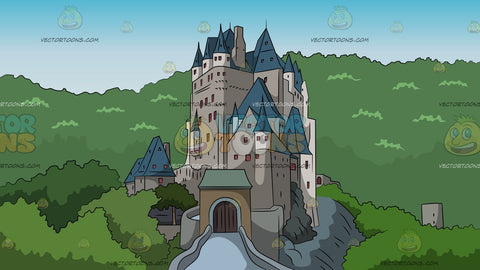 Castle On A Mountain Background