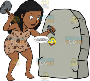 A Black Cavewoman Cheerfully Works On A Solid Rock