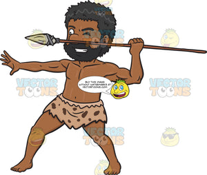 A Black Caveman Aggressively Holds Up A Stone Spear