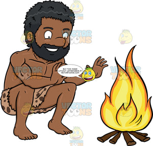 A Black Caveman Smiles In Relief Beside A Bonfire