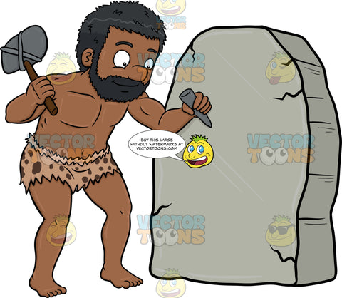 A Black Caveman Cheerfully Works On A Solid Rock