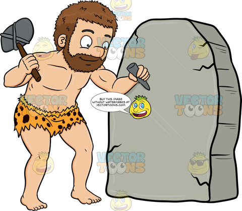 A Caveman Cheerfully Works On A Solid Rock