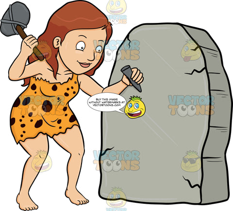 A Cavewoman Cheerfully Works On A Solid Rock