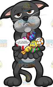Cavity Cat Holding A Bunch Of Candy In His Paws. A black cat  with a gray belly, wearing a red tie, standing with a grumpy look on his face, holding his paws out in front of him with various candies in them