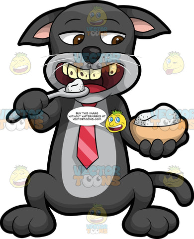 Cavity Cat Eating A Spoonful Of Sugar. A black cat with a gray belly, wearing a red tie, sitting down and holding a bow of sugar in one paw and putting a spoonful of sugar in his mouth while showing off his rotten teeth